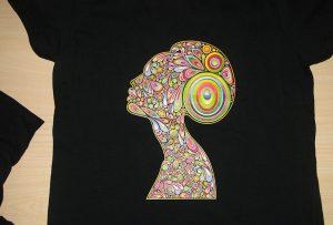 Contoh percetakan t-shirt hitam oleh pencetak t-shirt A2 WER-D4880T